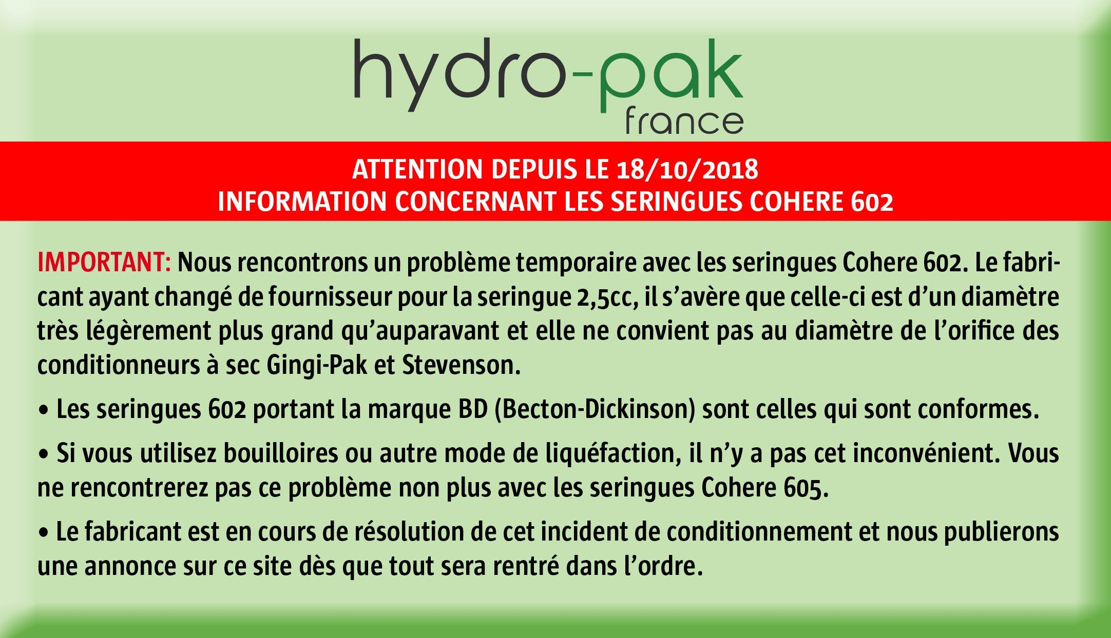 COHERE 602 INFORMATION IMPORTANTE